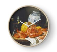 Edward Ladell - Shrimps, A Peeled Lemon, A Glass Of Wine. Edward Ladell - still life with fruits and glass of wine. Clock