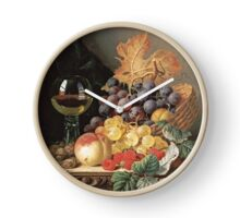 Edward Ladell - A Basket Of Grapes, Raspberries. Edward Ladell - still life with fruits and glass of wine. Clock