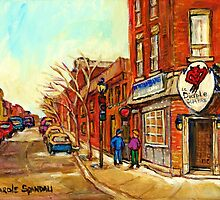 RUE CENTRE LE DIABLE A QUATRE POINTE ST.CHARLES TAVERNE MONTREAL STREET SCENE IN WINTER by Carole  Spandau