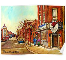 RUE CENTRE LE DIABLE A QUATRE POINTE ST.CHARLES TAVERNE MONTREAL STREET SCENE IN WINTER Poster