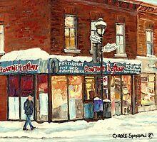 POUTINE LAFLEUR VERDUN HOTDOG RESTAURANT MONTREAL CITY SNOW SCENE by Carole  Spandau