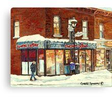 POUTINE LAFLEUR VERDUN HOTDOG RESTAURANT MONTREAL CITY SNOW SCENE Canvas Print