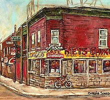 SILVER DRAGON CHINESE FOOD VERDUN RESTAURANT MONTREAL WINTER STREET SCENES PAINTINGS by Carole  Spandau
