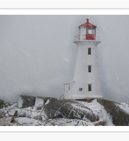 Peggy's point lighthouse Snow Storm Sticker