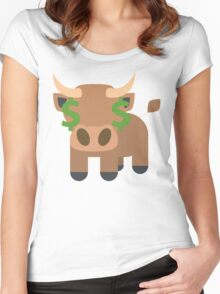 Ox Emoji Money Face Women's Fitted Scoop T-Shirt