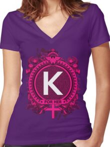 FOR HER - K Women's Fitted V-Neck T-Shirt