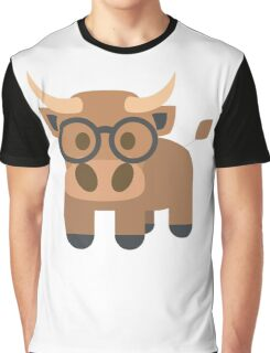 Ox Emoji Nerdy Spectacles Look Graphic T-Shirt