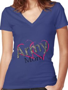 Love Army Mom T-Shirt Women's Fitted V-Neck T-Shirt