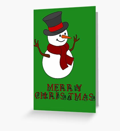 Merry Christmas Snowman clipart Greeting Card