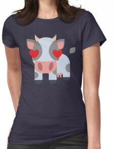 Cow Emoji Heart and Love Eyes Womens Fitted T-Shirt