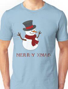 Merry Xmas Snowman clipart Unisex T-Shirt