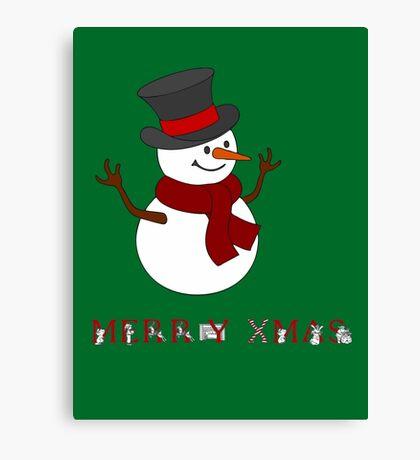 Merry Xmas Snowman clipart Canvas Print