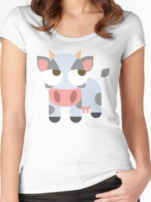 Cow Emoji Thinking Hard and Hmm Look Women's Fitted Scoop T-Shirt