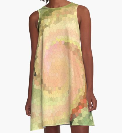 Multicolored mosaic in pink and yellow - green tones .  A-Line Dress