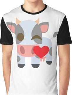Cow Emoji Flirting and Blowing Kiss Graphic T-Shirt