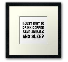 Coffee Animals Sleep Framed Print