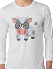 Cow Emoji Nerdy Spectacles Look Long Sleeve T-Shirt