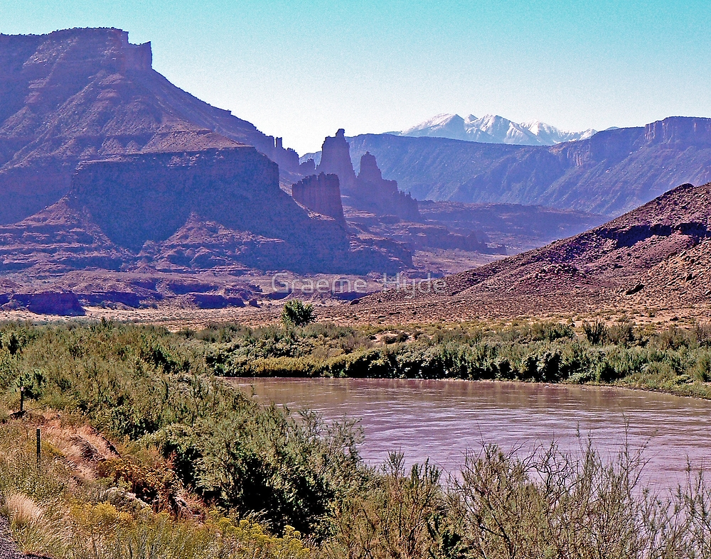 Colorado River & La Sal Mountains by Graeme  Hyde