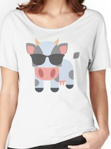 Cow Emoji Cool Sunglasses  Look Women's Relaxed Fit T-Shirt