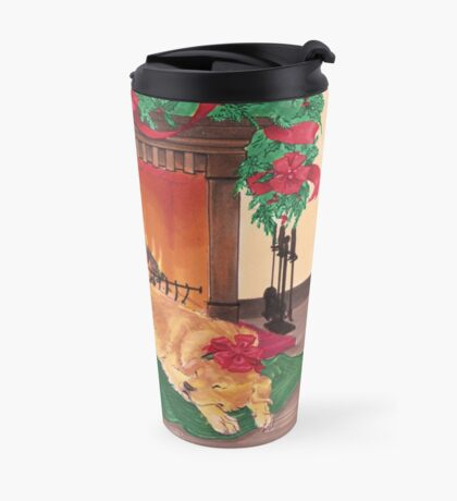 Golden Retriever Christmas Holiday Scene Travel Mug