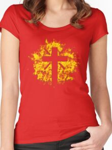 Jesus Christ Son of God Lord Crucifix Women's Fitted Scoop T-Shirt