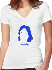 """""""Rowdy"""" Roddy Piper Tribute (in BLUE) Women's Fitted V-Neck T-Shirt"""