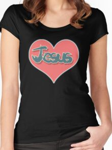 Love Jesus Christ Son of God Lord Crucifix Women's Fitted Scoop T-Shirt