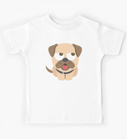Bulldog Emoji Thinking Hard and Hmm Look Kids Tee