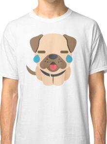 Bulldog Emoji Teary Eyes and Sad Look Classic T-Shirt