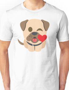 Bulldog Emoji Flirting and Blowing Kiss Unisex T-Shirt