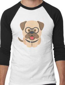 Bulldog Emoji Nerdy Spectacles Look Men's Baseball ¾ T-Shirt