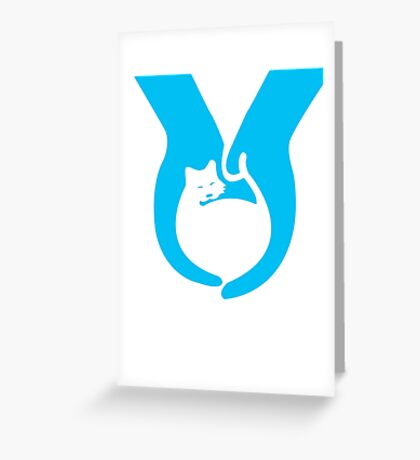 Blue Cat Helping Hands Greeting Card