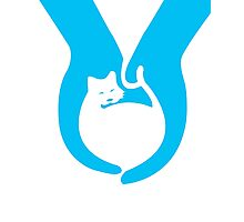 Blue Cat Helping Hands Photographic Print