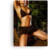 Sexy young woman tied to tree in the nature art photo print Canvas Print