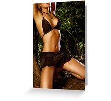 Sexy young woman tied to tree in the nature art photo print Greeting Card
