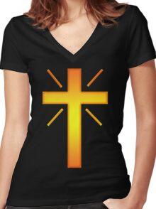 Jesus Christ Son of God Lord Cross Women's Fitted V-Neck T-Shirt