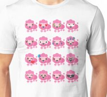 Pink Poodle Dog Emoji Different Facial Expression Unisex T-Shirt
