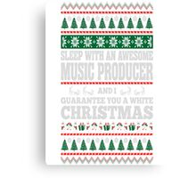 Sleep With Awesome Music Producer White Christmas T-Shirt Canvas Print
