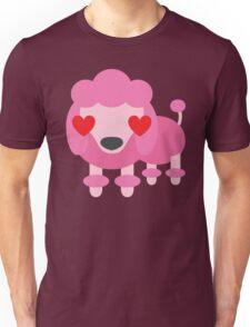 Pink Poodle Dog Emoji Love and Heart Eyes Unisex T-Shirt