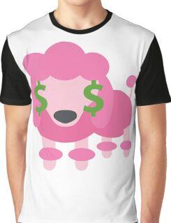 Pink Poodle Dog Emoji Money Face Graphic T-Shirt