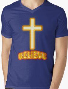 Jesus Christ Son of God Lord Believe Mens V-Neck T-Shirt
