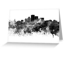 Rochester NY skyline in black watercolor Greeting Card