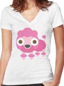 Pink Poodle Dog Emoji Shocked and Surprised Look Women's Fitted V-Neck T-Shirt