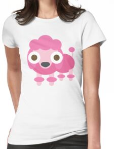 Pink Poodle Dog Emoji Shocked and Surprised Look Womens Fitted T-Shirt