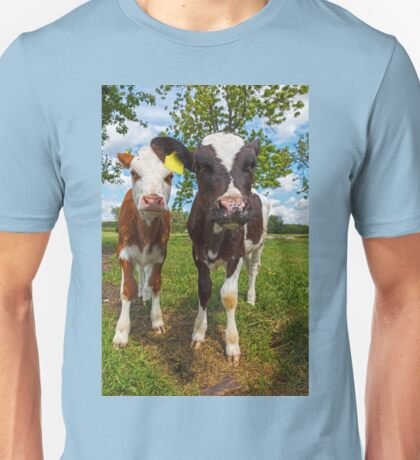 Two cows looking at camera Unisex T-Shirt