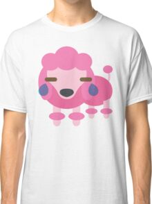 Pink Poodle Dog Emoji Teary Eyes and Sad Look Classic T-Shirt