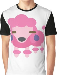 Pink Poodle Dog Emoji Teary Eyes and Sad Look Graphic T-Shirt
