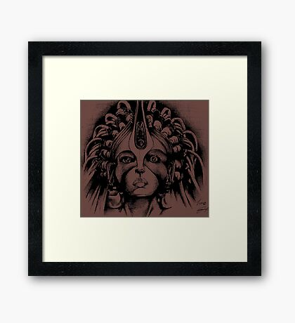 Queen (black and white) Framed Print