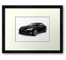 Black Tesla Model S red luxury electric car art photo print Framed Print