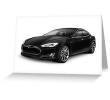 Black Tesla Model S red luxury electric car art photo print Greeting Card